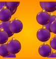 realistic christmas balls on trendy yellow vector image vector image