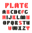 Sans serif stencil plate font and numeral vector image vector image