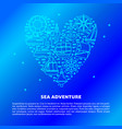 sea adventure concept banner with ship icons in vector image vector image