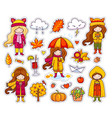 set of cute autumn girls vector image vector image