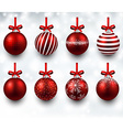 Set of realistic red christmas balls vector image vector image