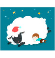 sleeping boy with fluffy sheep vector image vector image
