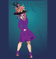 sugar skull witch woman vector image vector image
