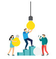 teamwork to replace broken bulbs vector image