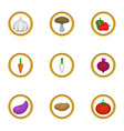 vegetarian food icons set cartoon style vector image