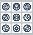 wheel disk icon set vector image