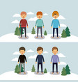 winter people with two scenes of men with sweaters vector image vector image