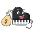 with money bag piano character cartoon style vector image