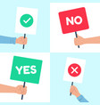 yes no posters holding protest banner in hand vector image vector image