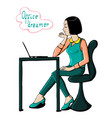 young office woman dreaming at work vector image