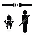 seat belt with people icon vector image