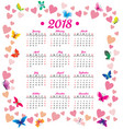 2018 year calendar hearts flowers fly vector image vector image