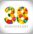 38 years anniversary circle colorful logo vector image vector image