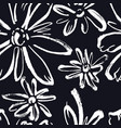abstract pattern white flowers black background vector image vector image
