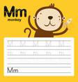 alphabet m worksheet learning english vocabulary vector image vector image