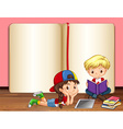Boy and girl reading books vector image vector image