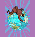 businessman falls off the planet holds onto it vector image