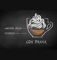 chalk sketch of con panna coffee recipe vector image vector image