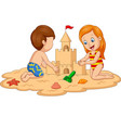 children making sand castle at tropical beach vector image vector image