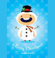 christmas card with boy in snowman costume vector image vector image