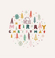 christmas hand drawn round label or badge with vector image