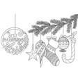 christmas ornamentals for adult coloring book vector image vector image