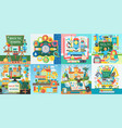 collection of flat school education design vector image