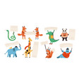 cute funny wild animals holding empty banners vector image
