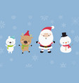 cute santa snowman and animal cartoon happiness vector image vector image
