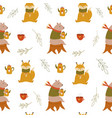 cute seamless pattern with funny bears vector image