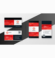 geometric red theme company business card design vector image vector image