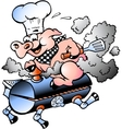 Hand-drawn of an chef pig riding an bbq barrel vector | Price: 1 Credit (USD $1)