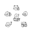 hand drawn students kids smiles face emoji vector image