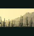horizontal prairie with cacti at sunset vector image