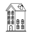 house icon isolated black and white vector image vector image