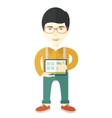Japanese Man holding a screen tablet vector image