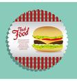 label burger on a blue background vector image