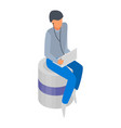 man with laptop icon isometric style vector image