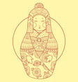 matryoshka japan style hand drawn vector image