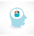 Mouse and head icon Computer addiction concept vector image