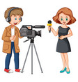 news reporter and professional cameraman vector image vector image