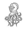 octopus tentacles in knight helmet sketch vector image vector image