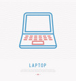 opened laptop thin line icon vector image