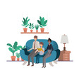 parents couple with son sitting in livingroom vector image vector image