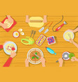 people cooking sweet pastry together view from vector image vector image