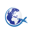 planet with airplane color vector image vector image