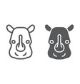 rhinoceros line and glyph icon animal and zoo vector image vector image
