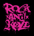 rocknroll music creative lettering grunge style vector image