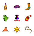 rodeo icons set cartoon style vector image vector image
