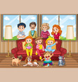 scene with people staying at home with family vector image vector image